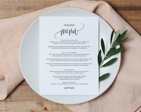 Wedding Menu Printable, Wedding Menu Template, Rustic Wedding, Table Menu, Menu Sign, Menu Card, PDF Instant Download #BPB202_35 - Bliss Paper Boutique