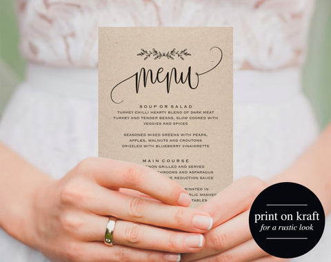 Printable Wedding Menu, Wedding Menu Template, Menu Cards, Menu Template, Editable Menu, Rustic Wedding, PDF Instant Download #BPB202_4 - Bliss Paper Boutique