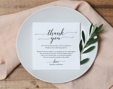 Wedding Thank You Card, Thank You Printable, Wedding Table Thank You, Elegant Wedding, Script, Template, PDF Instant Download #BPB310_14 - Bliss Paper Boutique
