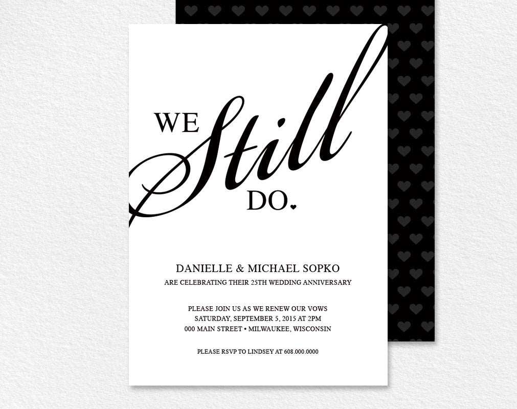 Vow renewal invitation we still do black and white custom vow renewal invitation we still do black and white custom printable invitation card stopboris Images