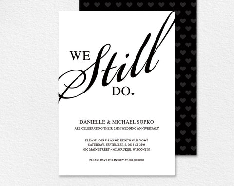 Vow renewal invitations bliss paper boutique vow renewal invitation we still do black and white custom printable invitation card stopboris Images