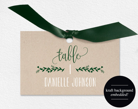 Wedding Place Cards, Wedding Place Card Printable, Place Card Template, Printable, Green, Green Wedding, PDF Instant Download #BPB221_6 - Bliss Paper Boutique