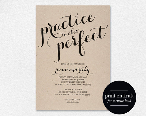 Rehearsal Dinner Invitation, Practice Makes Perfect, Wedding Rehearsal Editable Printable, Template, PDF Instant Download #BPB133_9 - Bliss Paper Boutique