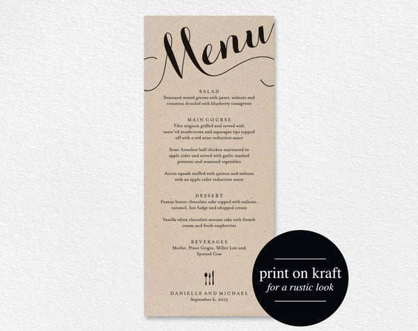 Wedding Menu Printable Template, Dinner Menu Printable, Wedding Menu Card, Menu Printable, Rustic Menu, PDF Instant Download #BPB133_4 - Bliss Paper Boutique