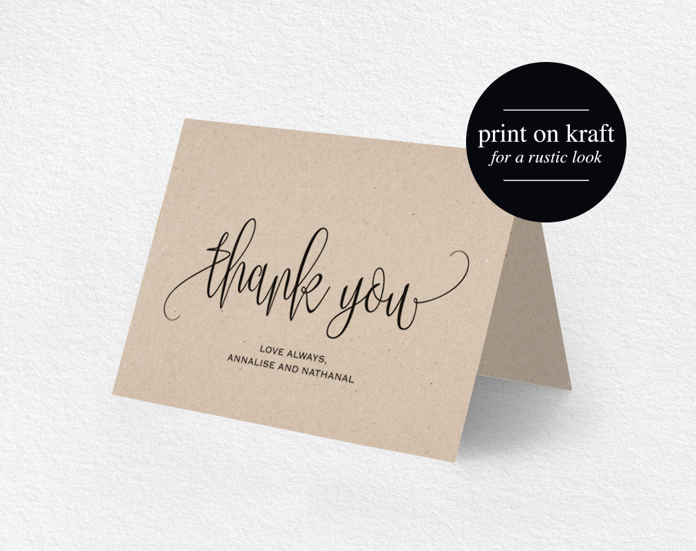 Folded Thank You Card Printable INSTANT DOWNLOAD Pdf Rustic Thank You Card Favor Card BLISS Thanks Card Wedding Thank You Card