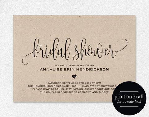 Bridal Shower Invitation, Bridal Shower Wedding Printable, Wedding Shower Template, Shower Invite, PDF Instant Download #BPB203_26 - Bliss Paper Boutique