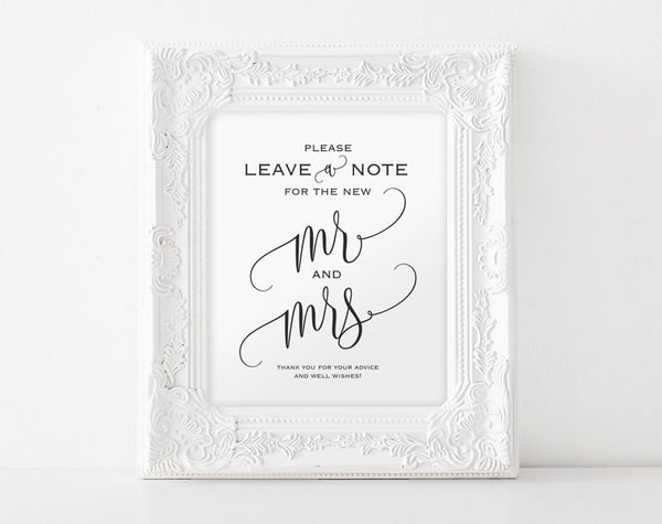 Wedding Advice Sign, Please Leave a Note Sign, Wedding Sign, Guestbook Alternative, Well Wishes Sign, PDF Instant Download #BPB203_21 - Bliss Paper Boutique