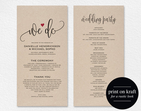 Wedding Program Editable Template, We Do Wedding Program Printable, Ceremony Printable, Wedding Printable, PDF Instant Download #BPB234_3 - Bliss Paper Boutique