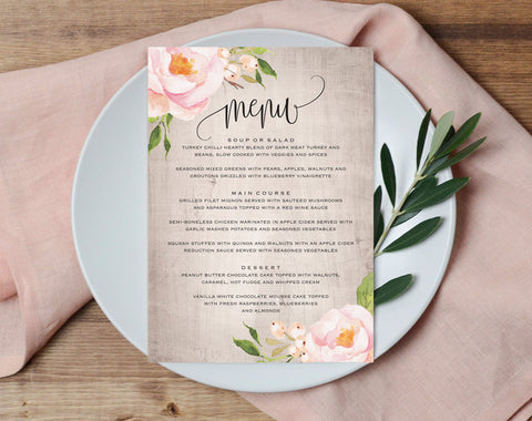 Wedding Menu Template, Floral Wedding Printable, Wedding Menu Cards, Wedding Menu Printable, flora, PDF Instant Download #BPB315_35 - Bliss Paper Boutique
