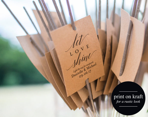 Sparkler Send Off Sign, Sparkler Sign, Let Love Shine Sign, Sparkler Send Off, Wedding Sparkler Tags, PDF Instant Download #BPB310_46 - Bliss Paper Boutique