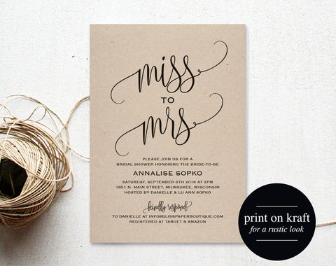 Bridal Shower Invitation, Bridal Shower Invites, Wedding Shower Invitation, Miss to Mrs, Rustic Wedding, Bliss Paper Boutique #BPB203_12 - Bliss Paper Boutique