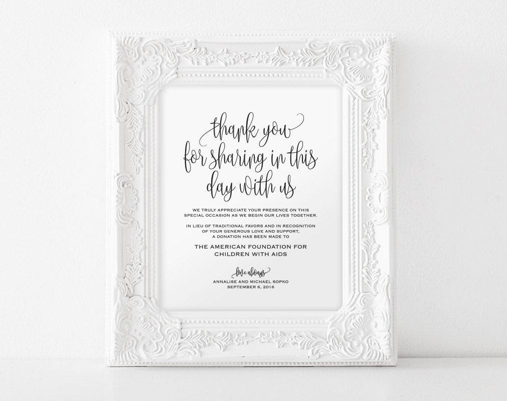 In Lieu Of Wedding Favors Sign, Wedding Donation Sign