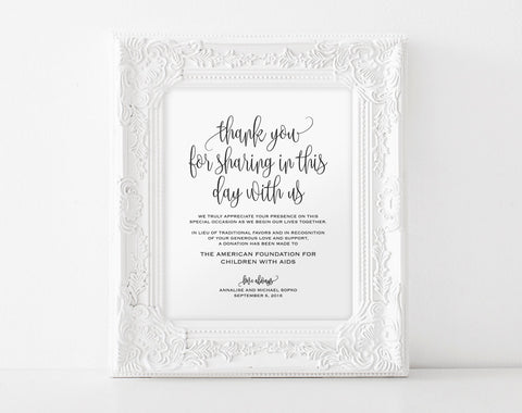 In lieu of wedding favors Sign, Wedding Donation Sign, Charity Printable, Thank you donation printable, PDF Instant Download #BPB203_22 - Bliss Paper Boutique