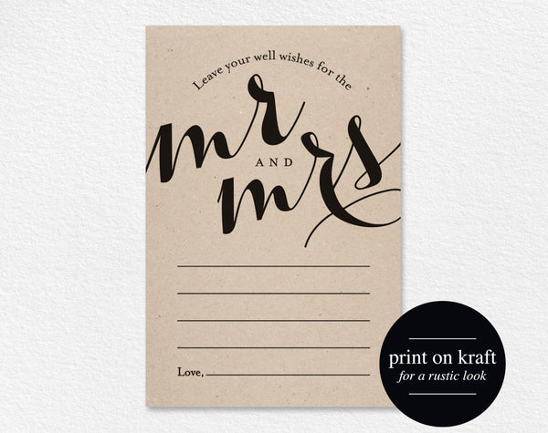 Wedding Well Wishes for Mr and Mrs, Card, Printable Template, Wedding Advice, Wedding Game, PDF Instant Download #BPB133_18 - Bliss Paper Boutique