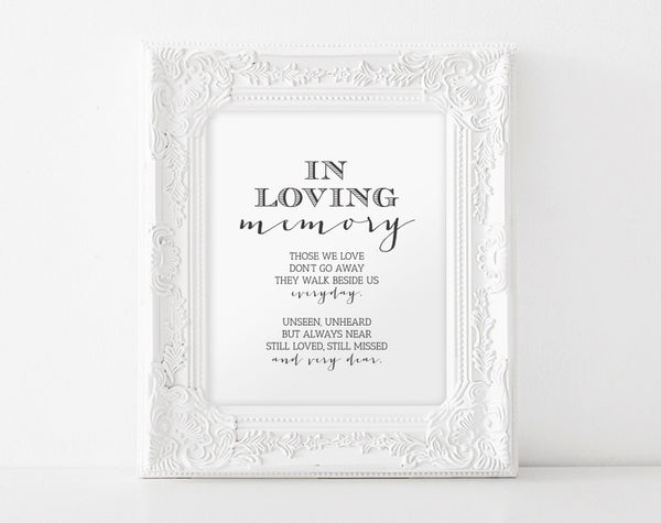 In Loving Memory, Printable Wedding Memorial Table Sign, Memory Sign, Those We love Don't Go Away, 8x10, PDF Instant Download #BPB152_54 - Bliss Paper Boutique