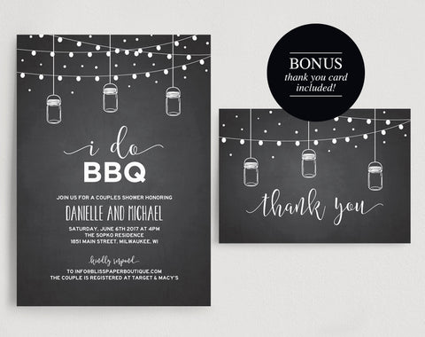 I Do BBQ Invitation, I Do BBQ Couples Shower, Barbecue Bridal Shower, Bridal Shower Invitation, Wedding Shower, PDF Instant Download #BPB287 - Bliss Paper Boutique