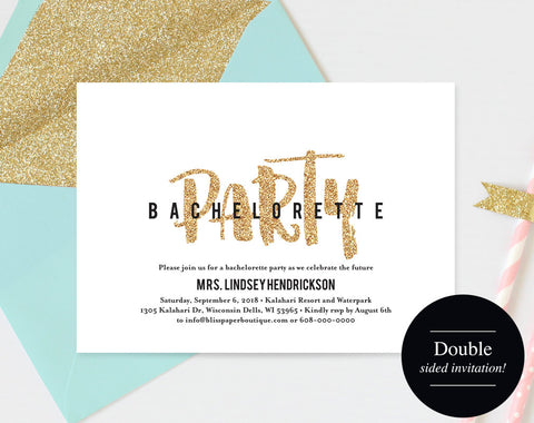 Bachelorette Party Invite, Bachelorette Party Invitation, Bachelorette Printable, Gold Glitter, Template, PDF Instant Download #BPB311_44 - Bliss Paper Boutique