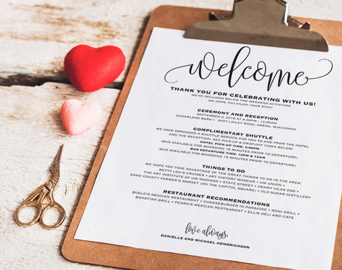 Wedding Itinerary, Welcome Bag, Printable Itinerary, Welcome Letter, Wedding Favor, Wedding Printable, PDF Instant Download #BPB203_53 - Bliss Paper Boutique