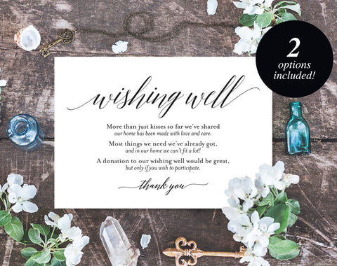 Wishing Well Card, Wedding Wishing Well, Wishing Well Printable, Wedding Insert, Wish Well, lieu of gifts, PDF Instant Download #BPB310_25 - Bliss Paper Boutique