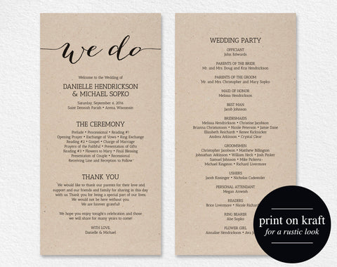 Wedding Program Printable Template, Printable Program, Program Template, Wedding Printable, Wedding Template, PDF Instant Download #BPB165_3 - Bliss Paper Boutique