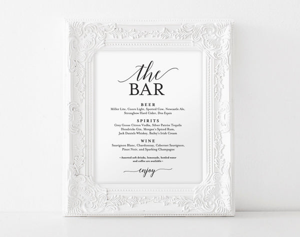 Bar Menu Sign, The Bar Sign, Wedding Bar Menu Printable, Wedding Sign, Wedding Bar Sign, Drink Menu, PDF Instant Download #BPB310_58 - Bliss Paper Boutique