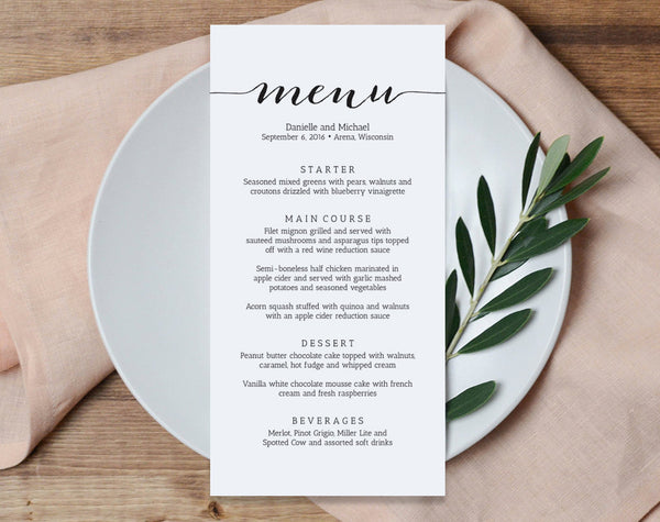 Wedding Menu Printable Template, Printable Menu, Menu Template, Kraft Menu, Dinner Menu Printable, PDF Instant Download #BPB165_4B - Bliss Paper Boutique