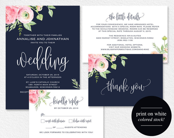 Floral Wedding Invitation, Navy Blue Floral Wedding Invitation Printable, Rustic Wedding Invite, Suite, PDF Instant Download #BPB306_1 - Bliss Paper Boutique