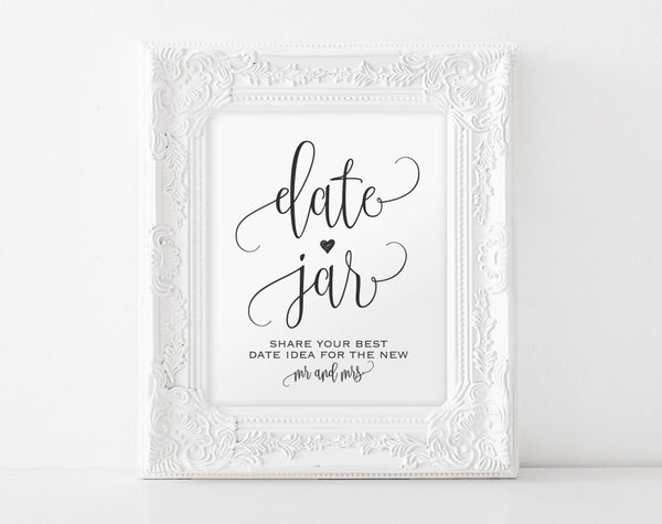 Date Jar Sign, Date Night Sign, Date Jar Ideas, Date Ideas Sign, Date Night Jar, Date Sign, Wedding Sign, PDF Instant Download #BPB203_62 - Bliss Paper Boutique
