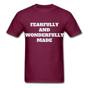 FEARFULLY AND WONDERFULLY MADE Ultra Cotton Adult T-Shirt - burgundy