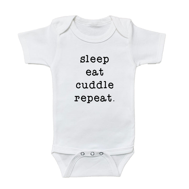 cuddle onesie, sleep eat cuddle repeat onesie, graphic bodysuits for babies, graphic onesie, graphic baby onesies, graphic baby tees and bodysuits, gender neutral graphic baby bodysuits and tees, newborn baby onesie, baby graphic tee, cute baby onesies, baby girl bodysuits, newborn baby girl onesie, newborn baby girl bodysuit, newborn baby boy onesie, newborn baby boy graphic onesie, baby boy graphic bodysuit, loved baby onesie, loved baby graphic bodysuit, fun baby onesie
