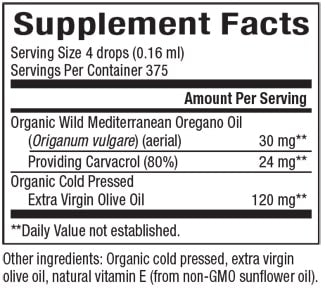 Natural Factors Certified Organic Oil of Oregano 1 fl oz.