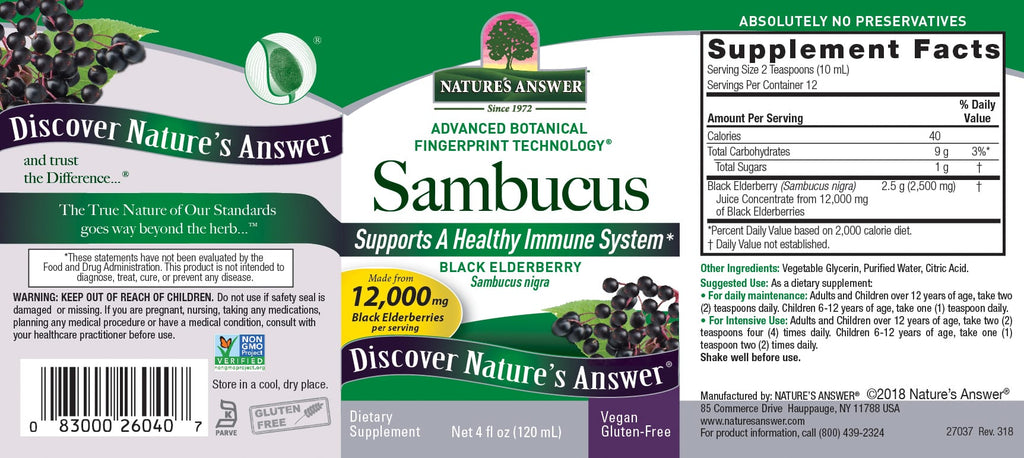 Nature's Answer Sambucus Black Elderberry Extract