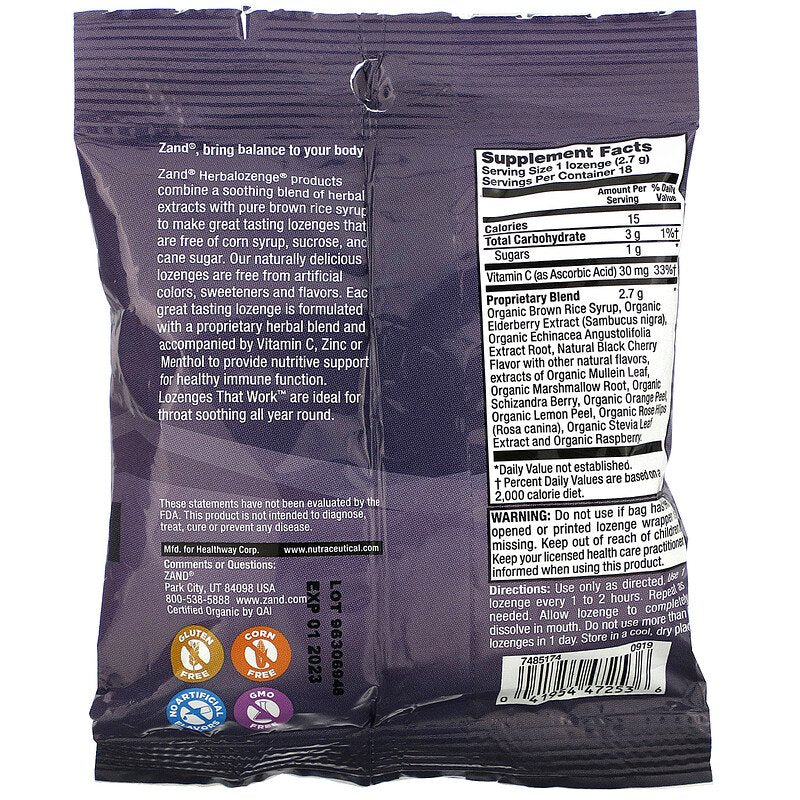 Zand Organic Elderberry C Lozenges
