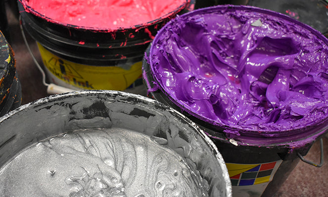Close Up of Ink for Screen printing Silver Purple Pink