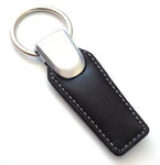 Tri Leather Keychain - Pewter Graphics Custom Promotional Products