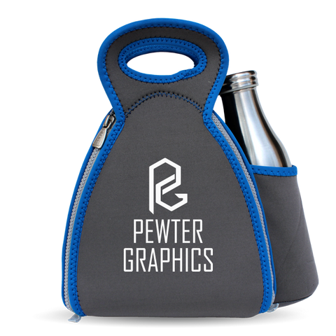 Fold-Out Lunch Bag + Drink Pocket - Pewter Graphics Custom Promotional Products