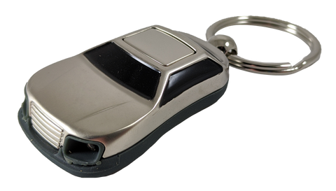 LED light Sedan Keychain - Pewter Graphics Custom Promotional Products