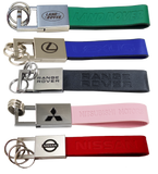 Leather Tab Keychain - Pewter Graphics Custom Promotional Products