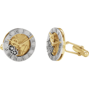 """Sophisticate"" 14K White & Yellow Cufflinks"