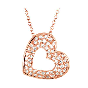 "14kt Rose Gold ""Sparkly Hearts"" Necklace"