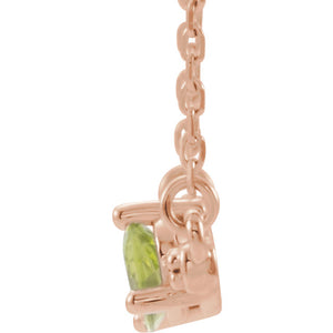 "14kt Rose Gold ""Rose & Peridot"" Necklace"