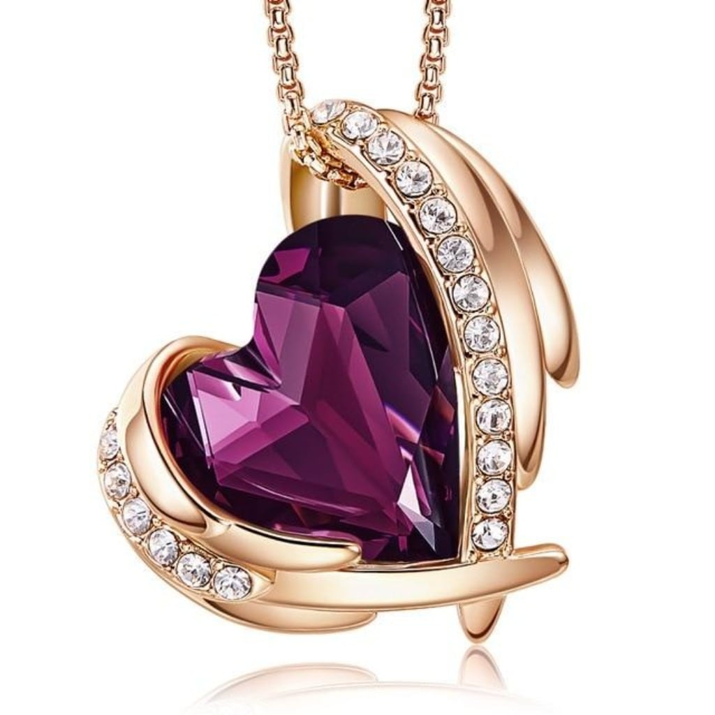 Violet Angel Heart Necklace