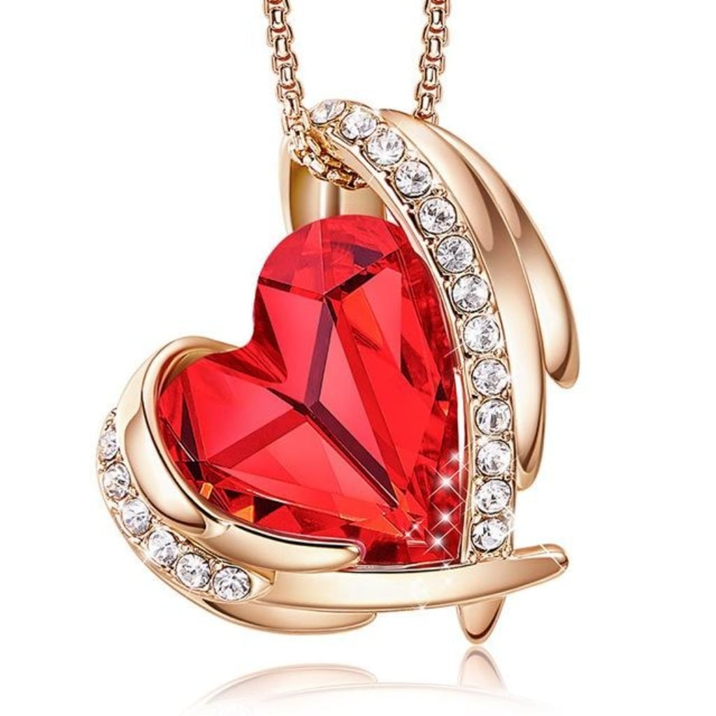 Red Angel Heart Necklace