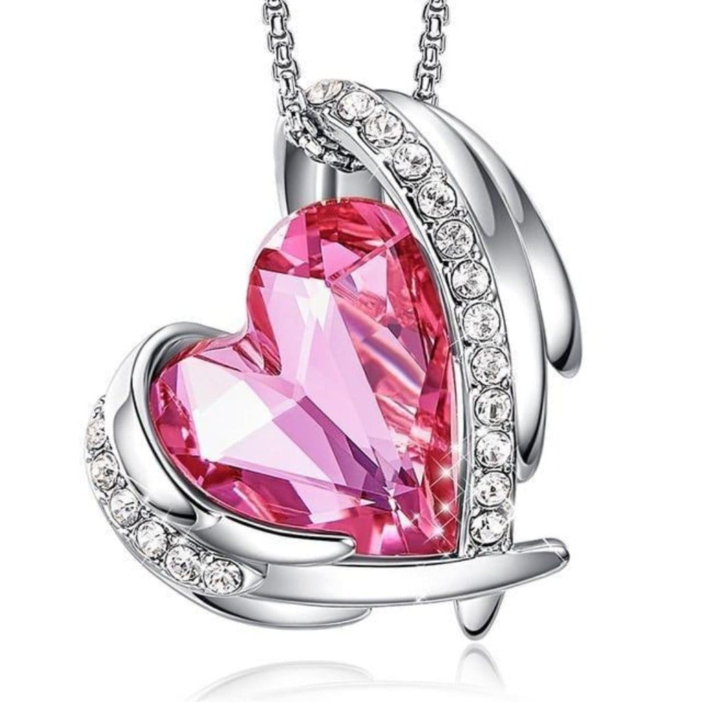 Pink Angel Heart Necklace