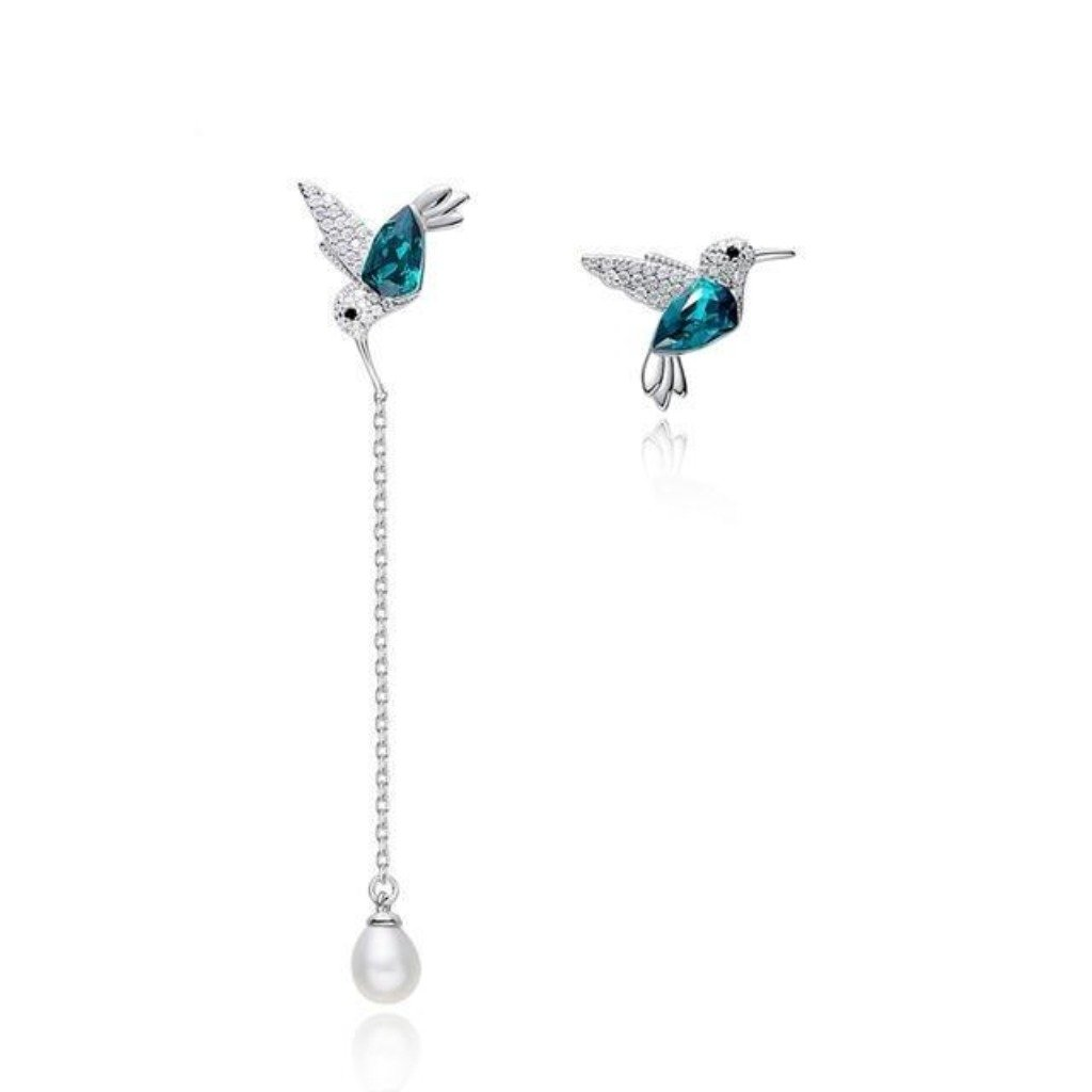 Emerald Flying Hummingbird Earring Set