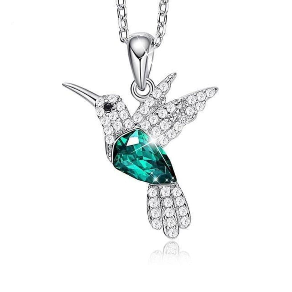 Emerald Flying Hummingbird Necklace