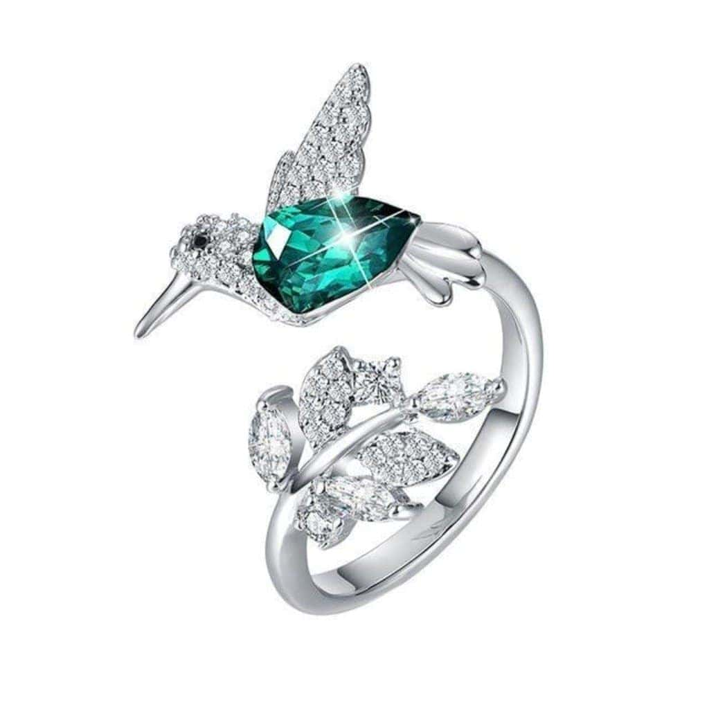 Emerald Flying Hummingbird Adjustable Ring