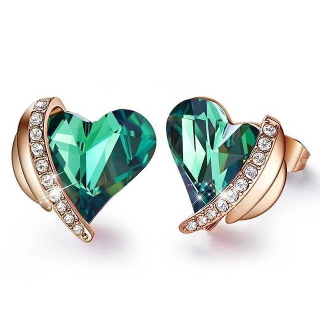 Green Angel Heart Earring Set