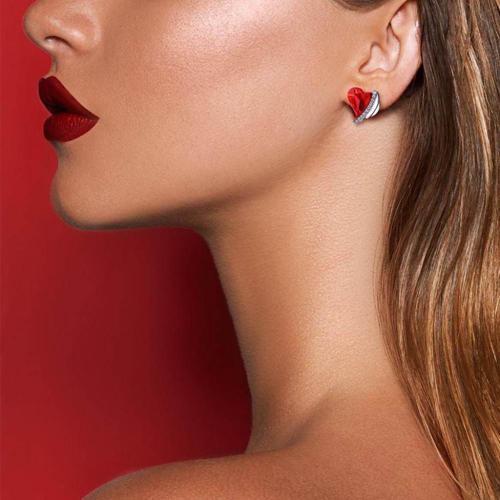 Red Angel Heart Earring Set