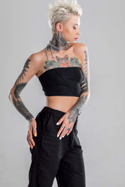 MDNT45 Black tube crop top